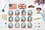 Print all of this American Revolution clip art! Includes founding fathers, period American and British flags, constitution, Declaration of Independence and more!