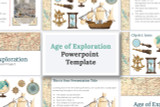 Powerpoint template for Age of Exploration projects. Cool old map graphics and tons of clip art!