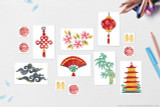 Ancient China themed clip art for school projects, including fan, pagoda, lantern, bamboo, cloud, and cherry blossoms.