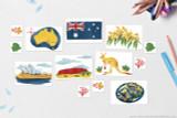 Australia themed clip art. Australian Flag, Australia National Flower: Golden Wattle, Australia's National Gemstone: Opal, Australia National Animal: Red Kangaroo, Brandenburg Gate, Uluru, Map of Australia with capitol Sydney, Coral Reef and fish decorative motifs