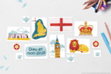 """Flag of England, St Edward's Crown, Motto of England's Sovereign: """"Dieu et mon droit"""", England National Animal: Barbary lion, Big Ben, Stone Henge, Map of England with capitol London, Tudor Rose, Tea Cup and Tea Pot motifs"""