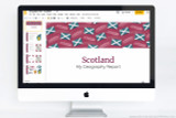Scotland themed Powerpoint template to use for school report projects.
