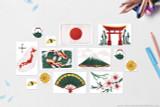 Printable Japan clip art. Flag of Japan, Japan National Flower: Cherry Blossom (Sakura), Torii gate, Japan National Fish: Koi Carp, Japanese Landmark: Mount Fuji, Fan, Crest of Japan, Traditional Tea Pot, Sushi