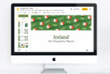 Ireland PowerPoint theme template. Use for school projects on Ireland.