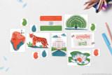 "Flag of India, Map of India with capital New Delhi, National motto of India: ""सत्यमेव जयते"", National flower of India: Lotus, National Bird of India: Indian Peacock, National Animal of India: Royal Bengal tiger, Landmark: Taj Mahal, Traditional Paisley motifs"