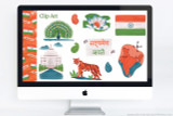 """India themed clip art and PowerPoint deck template to use for school projects. Includes:  Flag of India, Map of India with capital New Delhi, National motto of India: """"सत्यमेव जयते"""", National flower of India: Lotus, National Bird of India: Indian Peacock, National Animal of India: Royal Bengal tiger, Landmark: Taj Mahal, Traditional Paisley motifs"""