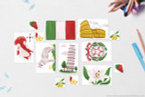 Flag of Italy, Map of Italy with capital Rome, Emblem of Italy, National flower of Italy: Lily, National Animal of Italy: Grey Wolf, Landmark: Tower of Pisa, Landmark: The Colosseum, Olives, Masquerade mask (Carnival of Venice Mask), grapes