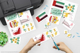 Printable United Arab Emirates clip art for school projects, reports, Geography Fairs, Girl Scout World Thinking Day.