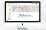 Washington PowerPoint template theme, everything you need to make your state report fast and easy.
