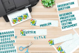 Scientific method steps are pre-printed in the kit to quickly make titles. Make any other custom titles you need for your specific project using the letters included. Cut out your titles and glue them to the Biology themed title cards.