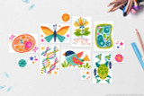 These Biology clip art icons are included with your kit; Butterfly, Bird, Animal Cell, Plant Cell, DNA, Flower with stamen and roots, Frog, Stars and filler shapes.