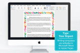 The unlined Biology writing template can be edited in Microsoft Word of Apple pages. Just replace the placeholder text with your report, and print your work with the colorful Biology border.