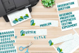 Scientific method steps are pre-printed in the kit to quickly make titles. Make any other custom titles you need for your specific project using the letters included. Cut out your titles and glue them to the Plant Science themed title cards.