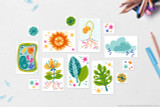 These Plant Science clip art icons are included with your kit; Flower (with stamen and roots), Leaves, Rain Clouds, Sun, Plant, Cell, Seed Sprouting, Fenestrated Leaf, Stars and filler shapes.