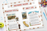 "Out printable kit includes all the clip art, ""stickers"" and templates to decorate your California Missions poster project."