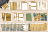 This image shows all of the pages included in the kit. 30 pages of Ancient Egypt themed artwork and templates to decorate your project. Each page features papyrus paper textures, and Ancient Egyptian style artwork.