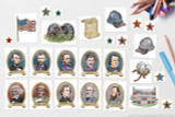 This set of clip art includes all fo the historical figures and icons shown here, including a Union flag, Union soldier's hat, Confederate soldier's hat, cannon, the Emancipation Proclamation, a cotton blossom, the McLean House in Appomattox Court House, and red white and blue stars.