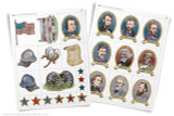 "Two full pages of Civil War clip art. Use these ""stickers"" of historical figures, and icons from this period in American history to decorate school projects on the American civil war."