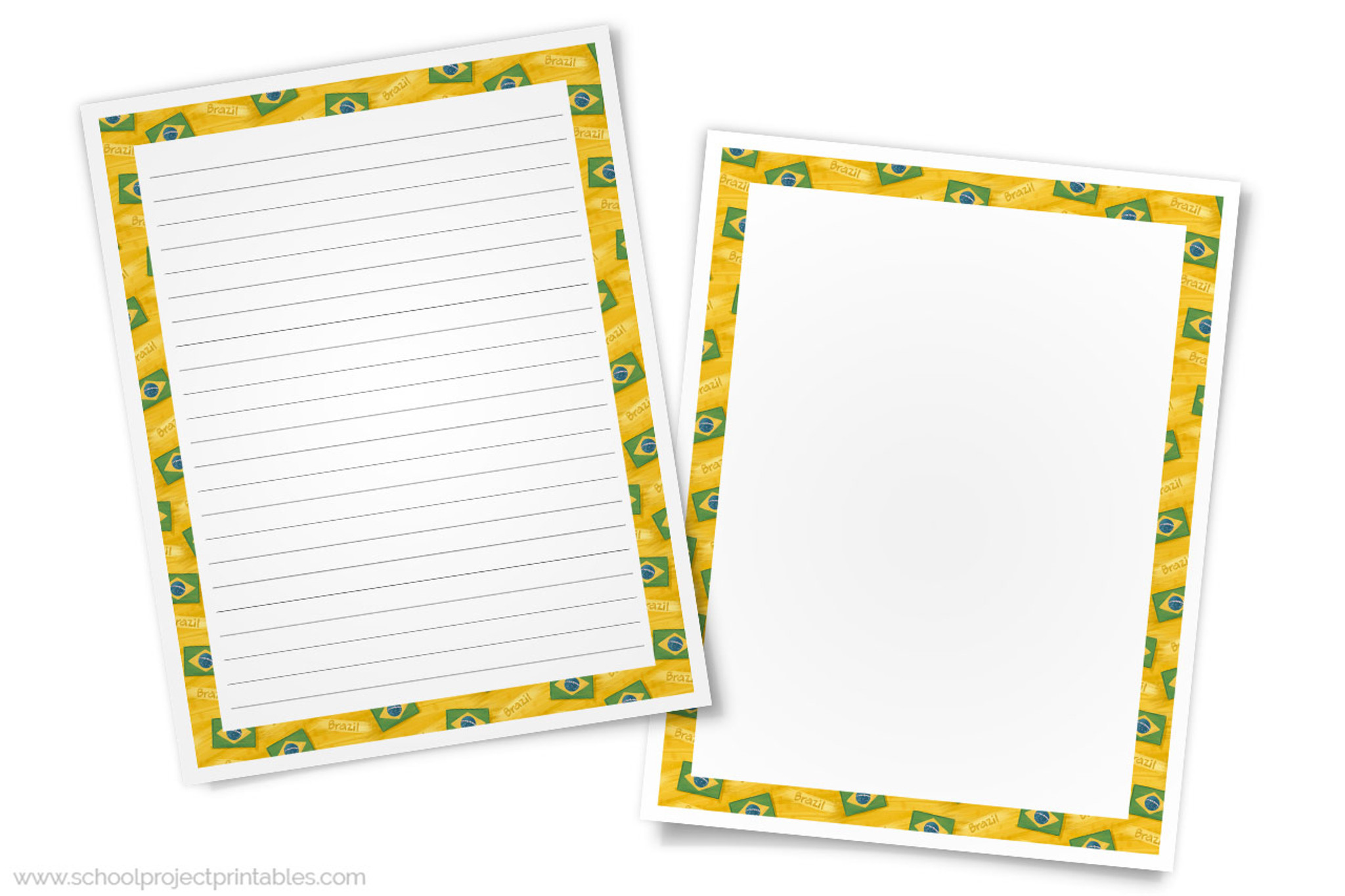 picture relating to Brazil Flag Printable known as Brazil Crafting Templates - Paper with Brazilian Flag Border