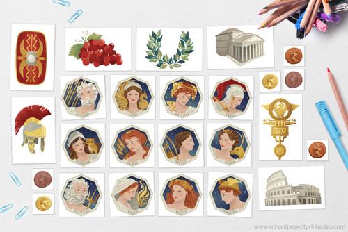 Use the printable clip art of Ancient Roman Gods and Goddesses to decorate your report. Includes Jupiter, Juno, Bacchus, Mars, Minerva, Ceres, Apollo, Diana, Mercury, Neptune, Venus, and Vesta.