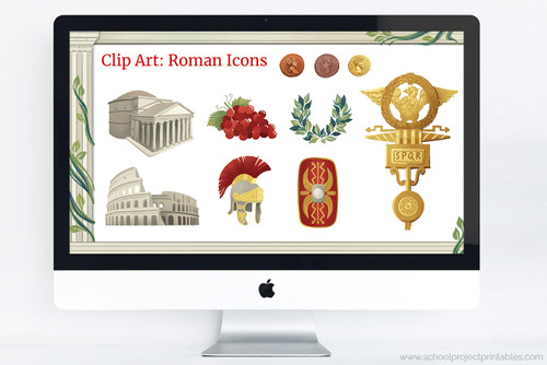 Ancient Rome powerpoint template with Roman clip art including the Pantheon, Colosseum,  Roman Soldier's helmet (Galea), Roman soldier's shield (Scutum), roman standard, laurel wreath, grapes, and roman coins.
