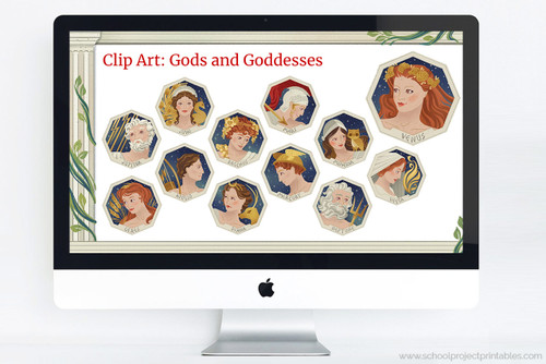 Powerpoint template with clip art of Ancient Roman Gods and Goddesses, including Jupiter, Juno, Bacchus, Mars, Minerva, Ceres, Apollo, Diana, Mercury, Neptune, Venus, and Vesta.