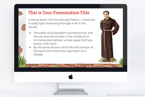 Downloadable PowerPoint template for reports on the Spanish Missions of California.