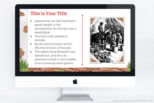 Template includes decorative corners to add photos to your presentation.