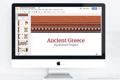 Use this Powerpoint template to make your report on Ancient Greece!