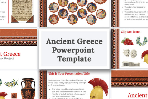 Download Ancient Greek powerpoint template for school projects.