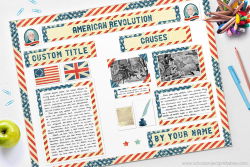 American Revolutionary War report made with the printable kit.