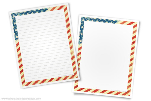 Printable American Revolution themed writing templates, lined and blank.