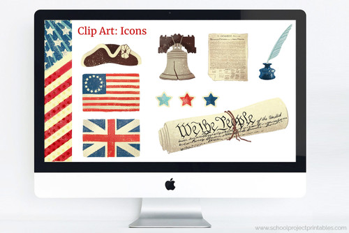 American Revolution clip art included in Powerpoint template download.