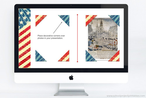 Add stars and stripes details to your report with this American Revolution google slides template.