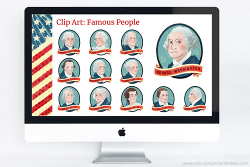 American Revolution Google Slides template with clip art of founding fathers and famous people.
