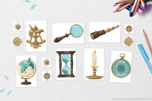 Printable history icons, including sextant, globe, magnifying glass, spyglass telescope, hourglass, candle, and compass graphics.