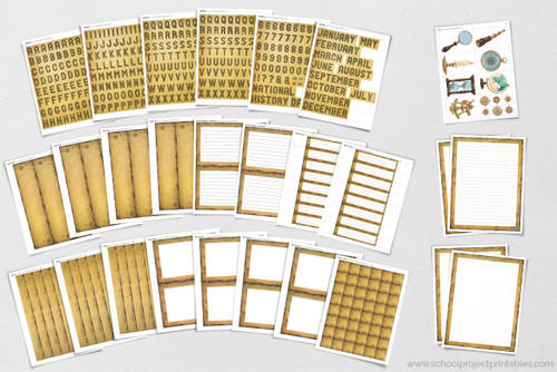 """Old Paper"" clip art graphics in this kit are perfect for history projects. The paper is made to look like old, weathered parchment with burnt inky edges, giving your project and old timey, aged, historical look. Old paper borders, writing template and more are included."