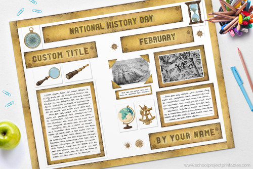 This history report was made with our printable old paper kit!