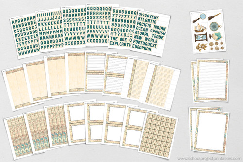 All of these pages are included in the printable Age of Discovery project kit!