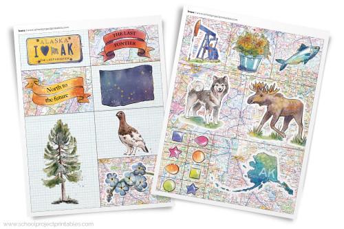 Printable clip art of Alaska State symbols.