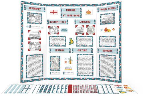 Use this printable kit to make your display for reports on England!