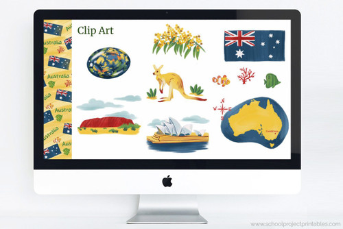 Australia themed clip art and PowerPoint deck template to use for school projects.
