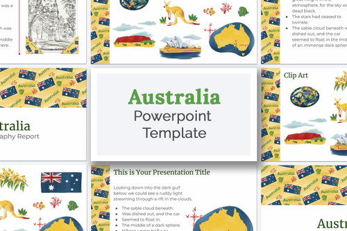 Australia PowerPoint deck template kit for school reports! Download now!