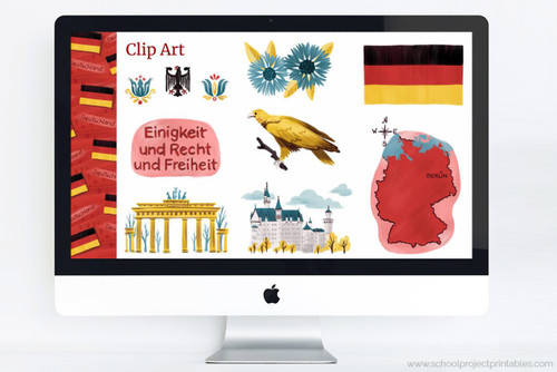 Germany themed PowerPoint template kit with Germany themed clip art!