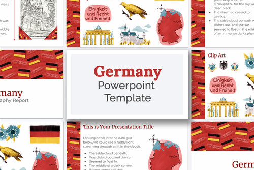 Germany themed PowerPoint template with colorful  Germany themed graphics and clip art. Use for you Geography Fair report, or Girl Scouts World Thinking Day Project!