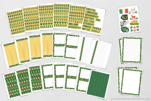 25 + page of printable artwork and templates for Ireland report and projects!