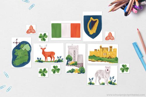"Ireland themed Clip Art! Flag of Ireland, Map of Ireland with Capital, Dublin, Ireland National ""Flower"": Shamrock, Ireland's (unofficial) National Animal: the Red Deer, Irish Wold Hound, Irish Landmark: Blarney Castle, Irish Landmark: Rock of Cashel, Coat of Arms featuring Celtic Harp, Celtic knot: Triquetra"