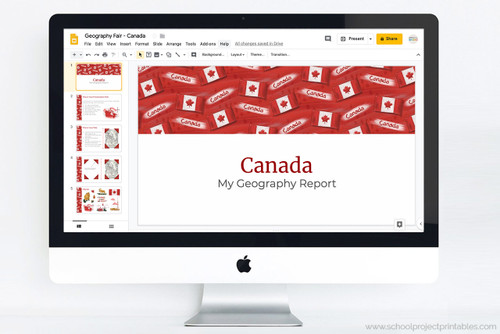 Canada themed powerpoint template for school projects.