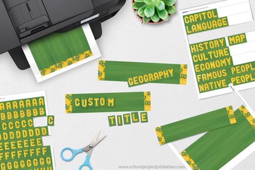 Custom titles for Brazil reports, flag of Brazil border.