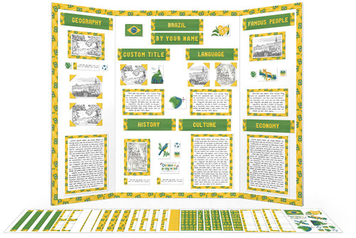 Printable kit for Brazil display boards - borders, titles, clip art and more!